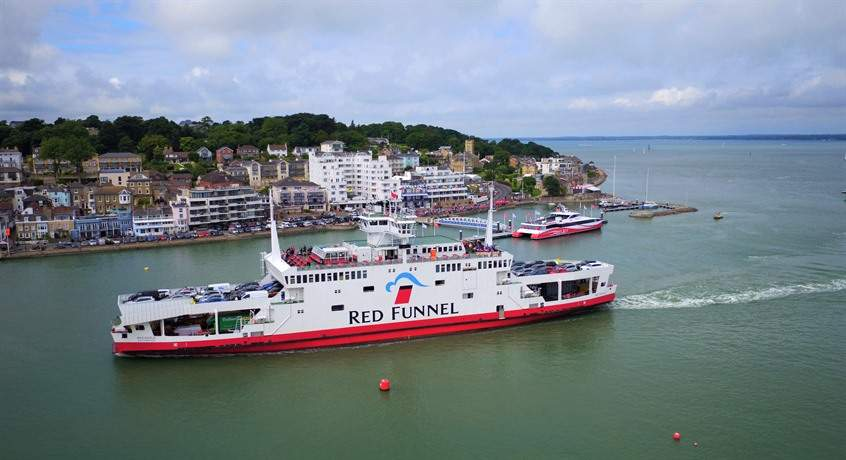Red Funnel Arriving on the Island